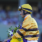 Nov. 03, 2012 - Arcadia, California, U.S - John Velazquez takes a moment to reflect after riding Wise Dan to win the Breeders' Cup Mile at Santa Anita Park in Arcadia, CA. (Credit Image: © Jimmy Jones/Eclipse/ZUMAPRESS.com)
