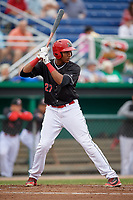 Batavia Muckdogs right fielder Jerar Encarnacion (27) at bat during a game against the Lowell Spinners on July 14, 2018 at Dwyer Stadium in Batavia, New York.  Lowell defeated Batavia 8-4.  (Mike Janes/Four Seam Images)