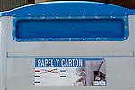 Viana.Navarra.Espana.Viana.Navarra.Spain.Contenedores de recogida selectiva de basuras. Azul, papel..Containers of garbage collection. Blue, paper. .(ALTERPHOTOS/Alfaqui/Acero)