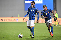Mannuel Locatelli and Emerson Palmieri of Italy in action during the Uefa Nation League Group Stage A1 football match between Italy and Poland at Citta del Tricolore Stadium in Reggio Emilia (Italy), November, 15, 2020. Photo Andrea Staccioli / Insidefoto