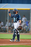 GCL Rays catcher Dawson Dimon (14) during a Gulf Coast League game against the GCL Pirates on August 7, 2019 at Charlotte Sports Park in Port Charlotte, Florida.  GCL Rays defeated the GCL Pirates 5-3 in the second game of a doubleheader.  (Mike Janes/Four Seam Images)