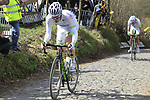 The tail end of the peloton including Dominic Klemme (GER) and Roy Curvers (NED) Argos-Shimano climbs Koppenberg during the 96th edition of The Tour of Flanders 2012, running 256.9km from Bruges to Oudenaarde, Belgium. 1st April 2012. <br /> (Photo by Eoin Clarke/NEWSFILE).