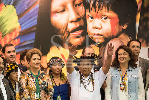 Brazilian President Dilma Rousseff, Inter-Tribal Committee President Marcus Terena and Agriculture Minister Katia Abreu pose with indigenous people and other dignitaries at the opening ceremony at the first ever International Indigenous Games, in the city of Palmas, Tocantins State, Brazil. Photo © Sue Cunningham, pictures@scphotographic.com 23rd October 2015