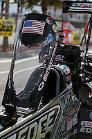 Apr. 5, 2013; Las Vegas, NV, USA: Detailed view of the canopy of NHRA top fuel dragster driver Brittany Force during qualifying for the Summitracing.com Nationals at the Strip at Las Vegas Motor Speedway. Mandatory Credit: Mark J. Rebilas-