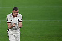 Football: Europa League - quarter final 2nd leg AS Roma vs Ajax, Olympic Stadium. Rome, Italy, March 15, 2021.<br /> Roma's Edin Dzeko celebrates after scoring during the Europa League football match between Roma at Rome's Olympic stadium, Rome, on April 15, 2021.  <br /> UPDATE IMAGES PRESS/Isabella Bonotto