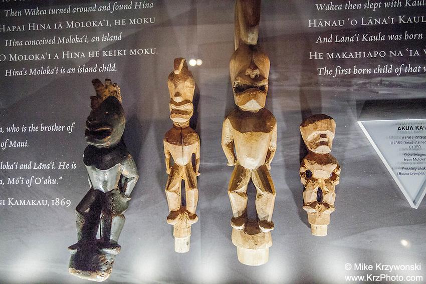 Hawaiian carved wooden images exhibit, Bishop Museum, Honolulu