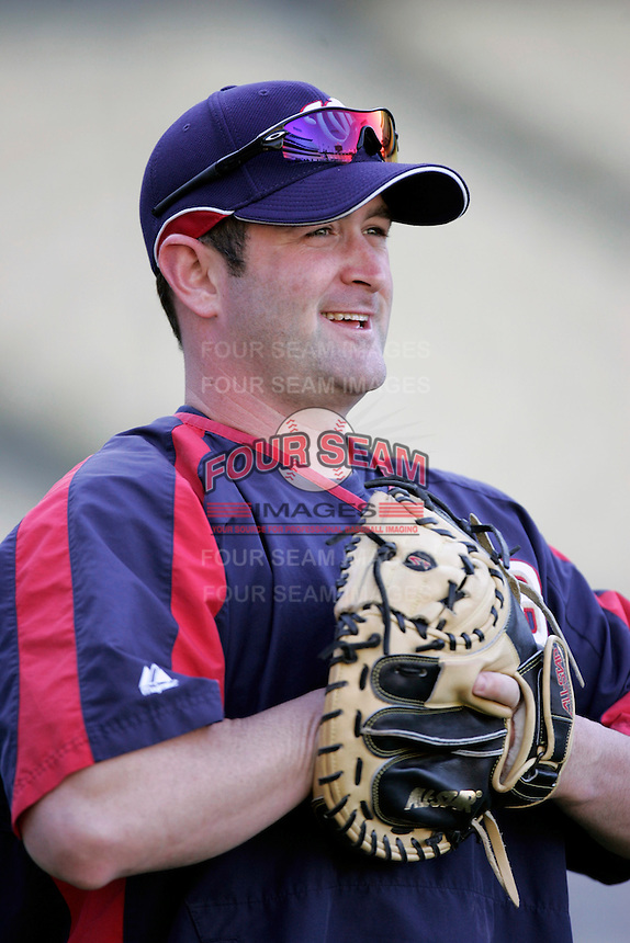 Brian Schneider of the Washington Nationals during batting practice before a game from the 2007 season at Dodger Stadium in Los Angeles, California. (Larry Goren/Four Seam Images)