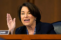 United States Senator Amy Klobuchar (Democrat of Minnesota), speaks before the Senate Judiciary Committee on the confirmation hearing for Supreme Court nominee Amy Coney Barrett, Thursday, Oct. 15, 2020, on Capitol Hill in Washington. <br /> Credit: Susan Walsh / Pool via CNP /MdeiaPunch