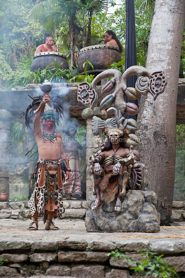 Dancers Performing Dance Representative of Pre-Hispanic Mayan Culture.   Xcaret, Riviera Maya, Yucatan, Mexico.