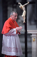 Cardinal Pietro Parolin as his Secretary of State on the Vatican .Pope Francis the ceremony of the Good Friday Passion of the Lord Mass in Saint Peter's Basilica at the Vatican.April 18,2014