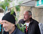 © Joel Goodman - 07973 332324 . 30/04/2017 . Salford, UK . Tolik (57) (l) and Valeriy (43) , from Lithuania . Homeless men are living in a towpath tunnel in Saford , in the shadow of the Ordsall Chord railway link and a large , Chinese-backed housing development. Photo credit : Joel Goodman