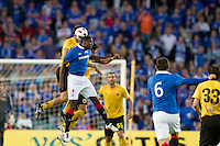 SYDNEY, AUSTRALIA - JULY 31, 2010: Maurice Edu of Rangers heads the ball during the match between AEK Athens FC and Glasgow Rangers at the 2010 Sydney Festival of Football held at the Sydney Football Stadium on July 31, 2010 in Sydney, Australia. (Photo by Sydney Low / www.syd-low.com)