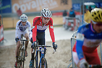 Dutch U23 Champion Mathieu Vanderpoel (NLD/BKCP-Powerplus) behind the French Champ & followed by the World Champ<br /> <br /> Zolder CX UCI World Cup 2014