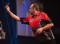20.12.2014.  London, England.  William Hill World Darts Championship. Ronny Huybrechts [BEL] during his game with Andy Smith (28) [ENG].