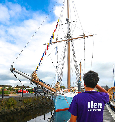 the new Ilen Marine School T-shirt makes its debut in saluting the ship at Kilrush
