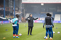 9th January 2021; Kenilworth Road, Luton, Bedfordshire, England; English FA Cup Football, Luton Town versus Reading; Mick Hartford with players ahead of kick off.