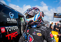 Jul 10, 2020; Clermont, Indiana, USA; NHRA top fuel driver Antron Brown during testing for the Lucas Oil Nationals at Lucas Oil Raceway. This will be the first race back for NHRA since the COVID-19 pandemic. Mandatory Credit: Mark J. Rebilas-USA TODAY Sports