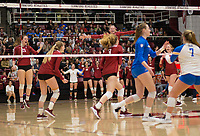 STANFORD, CA - NOVEMBER 17: Stanford, CA - November 17, 2019: Meghan McClure, Sidney Wilson, Jenna Gray, Holly Campbell, Kate Formico at Maples Pavilion. #4 Stanford Cardinal defeated UCLA in straight sets in a match honoring neurodiversity. during a game between UCLA and Stanford Volleyball W at Maples Pavilion on November 17, 2019 in Stanford, California.