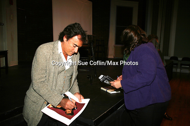"""Days of Our Lives and Mission Impossible star Thaao Penghlis """"Tony DiMera"""" signs Days calendar after he presents Journeys on May 24, 2010 at the Cape May Stage, Cape May, New Jersey. It is a show telling about his traveling the world from Macchu Picchu to the jungles of the Amazon, throughout the Middle East, Greece and Italy. His greatest joy is exploing Egypt and its unsolved mysteries and climbing Mr. Sinai. Became an actor to find journeys - mysteries bringing the unknown to the world - mission possible. In your journeys don't hurry, make it last forever and make it a wise experience. (Photos by Sue Coflin/Max Photos)"""