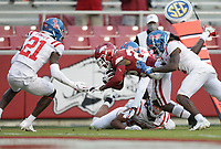 Arkansas running back Trelon Smith (22) carries the ball, Saturday, October 17, 2020 during the fourth quarter of a football game at Donald W. Reynolds Razorback Stadium in Fayetteville. Check out nwaonline.com/201018Daily/ for today's photo gallery. <br /> (NWA Democrat-Gazette/Charlie Kaijo)