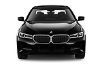 Car photography straight front view of a 2021 BMW 5-Series 530e-Sport 4 Door Sedan Front View