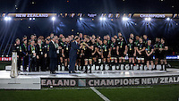 Prince Harry presents the Webb Ellis trophy to Richie McCaw of New Zealand at the end of the Rugby World Cup Final between New Zealand and Australia - 31/10/2015 - Twickenham Stadium, London<br /> Mandatory Credit: Rob Munro/Stewart Communications