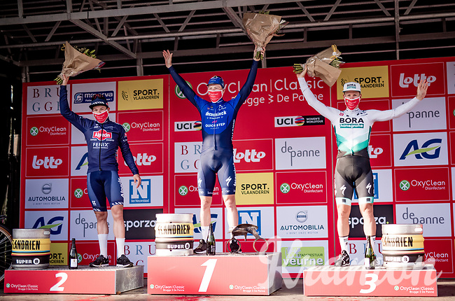 Sam Bennett (IRA/Deceuninck - Quick Step) wins the 45th Oxyclean Classic Brugge-De Panne 2021 (ME/1.UWT)<br /> Jasper Philipsen (BEL/Alpecin-Fenix) finished 2nd<br /> and Pascal Ackermann (DEU/BORA - hansgrohe) 3rd<br /> <br /> 1 day race from Bruges to De Panne (204km)<br /> <br /> ©kramon