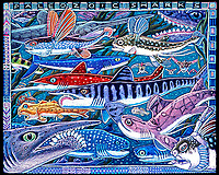 illustration, Swimming with Sharks, self portrait with artist's renditions of assorted extinct sharks, chimaeras and related cartilaginous fish, based on fossils, prehistoric marine life