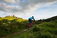 Ben Deakin riding a DMR Sled mtb . Corfe Castle, Isle of Purbeck, Dorset . September 2017.