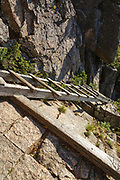 Franconia Notch State Park - Trail ladder along the Hi-Cannon Trail. This trail leads to the summit of Cannon Mountain in the White Mountains, New Hampshire.