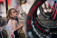 little girl checking out Team Cofidis warm-up ahead of the race<br /> <br /> Stage 3 (Team Time Trial): Cholet > Cholet (35km)<br /> <br /> 105th Tour de France 2018<br /> ©kramon