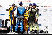 #86 Meyer Shank Racing w/ Curb-Agajanian Acura NSX GT3, GTD: Mario Farnbacher, Trent Hindman, #96 Turner Motorsport BMW M6 GT3, GTD: Bill Auberlen, Robby Foley, #12 AIM Vasser Sullivan Lexus RC F GT3, GTD: Frank Montecalvo, Townsend Bell, podium, champagne