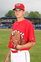Batavia Muckdogs pitcher Chris Corrigan (16) poses for a photo before minicamp team practice at Dwyer Stadium in Batavia, New York June 14, 2010.   Photo By Mike Janes/Four Seam Images