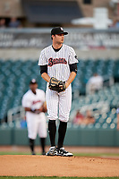 Birmingham Barons starting pitcher Spencer Adams (12) gets ready to deliver a pitch during a game against the Pensacola Blue Wahoos on May 8, 2018 at Regions FIeld in Birmingham, Alabama.  Birmingham defeated Pensacola 5-2.  (Mike Janes/Four Seam Images)