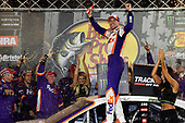 #11: Denny Hamlin, Joe Gibbs Racing, Toyota Camry FedEx Freight, wins at Bristol.