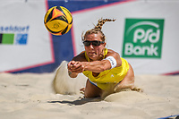 27th June 2020, Dusseldorf, Germany; The German Beach Volleyball League;  Cinja Tillmann dives to dig the ball low