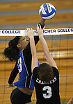 Marymount University's Jennifer Forbes plays in college volleyball action at Goucher College in Towson, MD, on Saturday, Oct. 8, 2011..Photo by Cathleen Aliison
