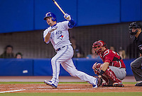 4 April 2015: Toronto Blue Jays infielder Josh Donaldson in action against the Cincinnati Reds at Olympic Stadium in Montreal, Quebec, Canada. The Blue Jays defeated the Reds 9-1 in the second of two MLB weekend exhibition games. The series marked the first time since 2004 that the Reds played at Olympic Stadium, during the last season of the Montreal Expos. Mandatory Credit: Ed Wolfstein Photo *** RAW (NEF) Image File Available ***