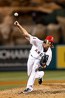 Jered Weaver #36 of the Los Angeles Angels pitches against the Pittsburgh Pirates at Angel Stadium on June 21, 2013 in Anaheim, California. (Larry Goren/Four Seam Images)