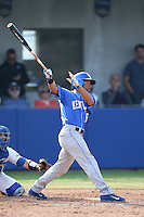 Marcus Carson (15) of the Kentucky Wildcats bats during a game against the UC Santa Barbara Gauchos at Caesar Uyesaka Stadium on March 20, 2015 in Santa Barbara, California. UC Santa Barbara defeated Kentucky, 10-3. (Larry Goren/Four Seam Images)