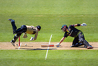 NZ's Tim Seifert unsuccessfully tries to stump Aaron Finch (right) during the 5th international men's T20 cricket match between the New Zealand Black Caps and Australia at Sky Stadium in Wellington, New Zealand on Sunday, 7 March 2021. Photo: Dave Lintott / lintottphoto.co.nz