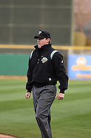 Base umpire Blake Davis during the game as the Sacramento River Cats faced the Salt Lake Bees in Pacific Coast League action at Smith's Ballpark on April 3, 2014 in Salt Lake City, Utah.  (Stephen Smith/Four Seam Images)