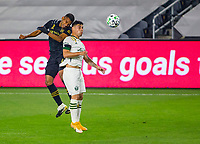 LOS ANGELES, CA - SEPTEMBER 13: Eddie Segura #4, during a game between Portland Timbers and Los Angeles FC at Banc of California stadium on September 13, 2020 in Los Angeles, California.