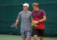 Finn Tearney & Isaac Becroft. 2019 Wellington Tennis Open at Renouf Centre in Wellington, New Zealand on Thursday, 19 December 2019. Photo: Dave Lintott / lintottphoto.co.nz