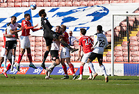 24th April 2021, Oakwell Stadium, Barnsley, Yorkshire, England; English Football League Championship Football, Barnsley FC versus Rotherham United; Keeper Jamal Blackman of Rotherham goes up late in the game to try and equalise