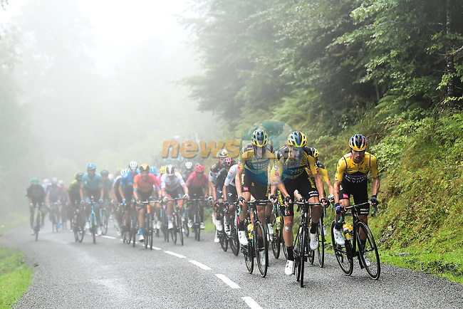 The peloton led by Wout Van Aert (BEL) and Team Jumbo-Visma climb Col de Marie Blanque during Stage 9 of Tour de France 2020, running 153km from Pau to Laruns, France. 6th September 2020. <br /> Picture: ASO/Alex Broadway | Cyclefile<br /> All photos usage must carry mandatory copyright credit (© Cyclefile | ASO/Alex Broadway)