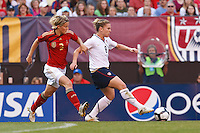 22 MAY 2010:  Germany's Saskia Bartusiak #3 and USA's Amy Rodriguez  #8 during the International Friendly soccer match between Germany WNT vs USA WNT at Cleveland Browns Stadium in Cleveland, Ohio on May 22, 2010.