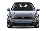 Car photography straight front view of a 2021 Volkswagen Golf GTI 5 Door Hatchback Front View