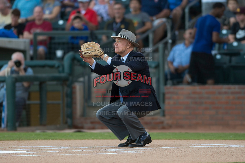 Arizona Fall League President Steve Cobb catches the first pitch before the Fall Stars game at Surprise Stadium on November 3, 2018 in Surprise, Arizona. The AFL West defeated the AFL East 7-6 . (Zachary Lucy/Four Seam Images)