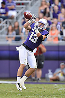 TCU wide receiver Ty Slanina (13)  catches a pass during second half of an NCAA football game, Saturday, October 18, 2014 in Fort Worth, Tex. TCU defeated Oklahoma State 42-9. (Mo Khursheed/TFV Media via AP Images)